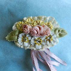 Antique French Silk Ribbons Ribbon Work Piece Doll Dress Bonnet | eBay