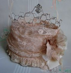DIY Shabbiest of Chic Tiara Inspiration: Altered crown tiara using a chicken wire base, vintage brooches and lace. Beautiful!!