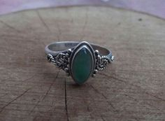 925 sterling silver ring green agate silver by silveringjewelry