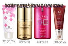 PosiFITly Beautiful: Korean BB Cream Round-Up Reviews (Liole's Beyond the Solution, Skin79's Gold Plus, Skin79's Triple Function Hot Pink Label and Missha's Perfect Cover). #bbcream