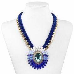Woven Chain Crystal Statement Necklace Gold Blue