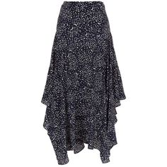 Stella McCartney Poppy Printed Midi Skirt ($1,175) ❤ liked on Polyvore featuring skirts, summer skirts, mid-calf skirt, blue tiered skirt, calf length skirts and galaxy skirts