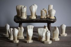 Vintage anatomical tooth model: A dental teaching aid comprising 18 individual teeth, each cast in Plaster-of-Paris and enamel-painted, circa 1930s