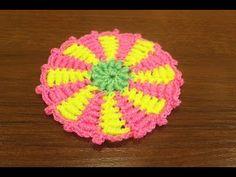Образец коврика крючком из витых столбиков (rug, crochet) - YouTube