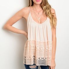Peach Lace Baby Doll Tank Peach spaghetti strap tank top. Flowy baby doll style with lace detail. Ties in back. New! Tops Tank Tops