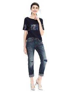 Love the mix of casual and chic with this navy sequin top. It's the perfect piece to add a festive touch to your everyday style this holiday season   Banana Republic