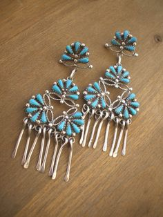 Vintage Sterling & TURQUOISE Petit Point Cluster Chandelier EARRINGS. Posted as Navajo, these are probably Zuni made.