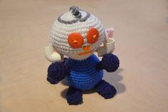 PVC Dude, Alien, Crocheted Amigurumi, Blue Orange