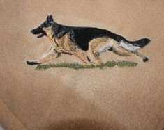 German Shepherd Embroidered Fleece Throw/Blanket by LoisLizzaCreations on Etsy Dog Names, Puppy Love, Your Dog, Fleece Throw, Puppies, Embroidery, Blanket, Fabric, Dogs