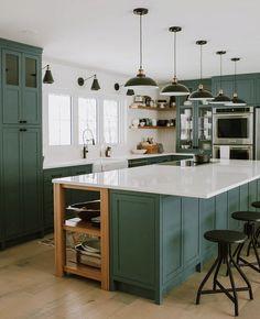 New Kitchen White Shaker Cabinets Benjamin Moore Ideas Green Kitchen Cabinets, Painting Kitchen Cabinets, Kitchen Paint, Kitchen Colors, Home Decor Kitchen, Interior Design Kitchen, New Kitchen, Home Kitchens, Kitchen White