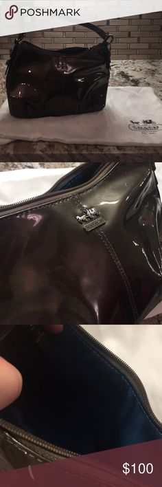 Coach Small Purse Pewter patent leather with blue satin inside. Perfect condition. Used once. Coach Bags Mini Bags