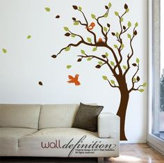 Tree Wall Decals Nursery Wall Tree Sticker - Nesting Tree Decal with Birds and Baby Bird Nest.