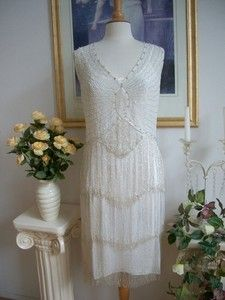 1920's Style Ivory Silver Beaded Flapper Dress Large   eBay