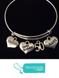 3af1e0ee1 Amazon.com: Happy 50th Birthday Sister and Aunt Expandable Charm Bracelets  Adjustable Bangle 50 Gift: Handmade