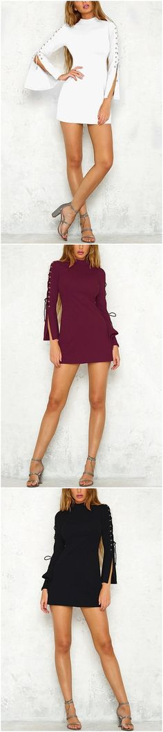 Round Neck Lace-up Slit Sleeve Mini Dress
