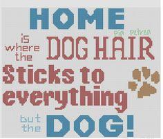 Skilt til hunde ejere Superhero Canvas, Funny Cross Stitch Patterns, Cross Stitch House, Cross Stitch Animals, Perler Patterns, Funny Sayings, Family Love, Hama Beads, Plastic Canvas