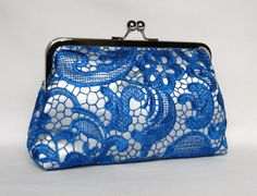 Lace Clutch Royal Blue and Silver Lace Clutch by TheHeartLabel