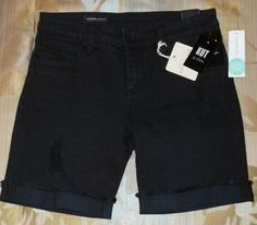 "March 2016 Stitch Fix. Kut From The Kloth Lonnie Distressed Boyfriend Short in black with light distressing. Approx 7"" inseam, 15"" from waist to hem. 98% Cotton/2% Spandex. So comfortable and they have cute back pocket detail.  https://www.stitchfix.com/referral/4292370"