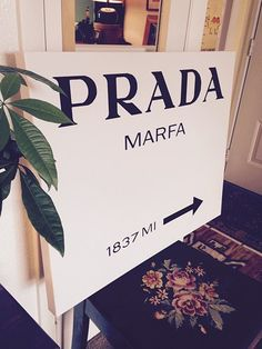 "Hand painted by me. Prada Marfa large sign painting on cotton canvas high quality museum wrapped canvas, 30""x24"". 2"" profile edges and ready to hang! Gossip Girls!"
