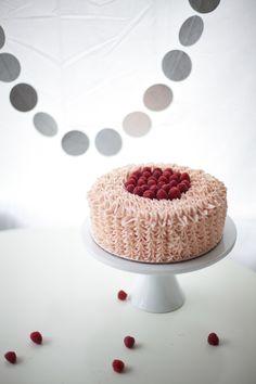 pink raspberry buttercream cake