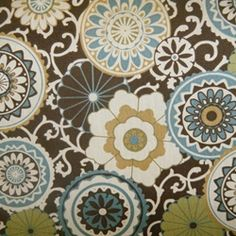 Flower Power Chocolate/Linen Outdoor - Discount Fabrics