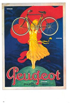 """Peugeot Bicycles Advertisement Poster Reproduction, """"Plate no.100"""". Jean Carlu. 1922. France."""