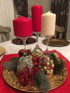 Holiday Party Decorations Diy Christmas Ornament Ideas For 2019 Christmas Candle Decorations, Christmas Candles, Diy Party Decorations, Christmas Ornaments, Diy Centerpieces, Christmas Wine, Simple Christmas, Christmas Holidays, Beautiful Christmas