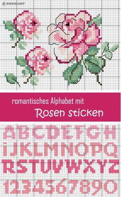 Romantisches Alphabet mit Rosen sticken #Sticken #Kreuzstich / #Alphabet; #Embroidery #Crossstitch / #alphabet / #ZWEIGART