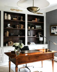 Home Office Space, Home Office Decor, Home Decor, Small Office, Bedroom With Office, Home Office Paint Ideas, Masculine Office Decor, Home Office Lighting, White Office
