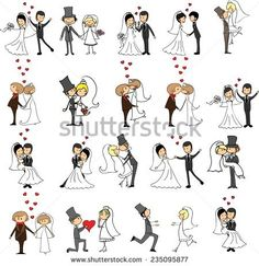 Set of wedding doodle pictures, bride and groom in love, the vector
