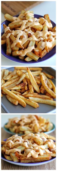 Garlic Cheese Fries - Perfectly double-fried french fries smothered ina garlic cheese sauce that can be made in 5 minutes!