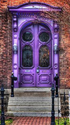an old vintage door painted purple!