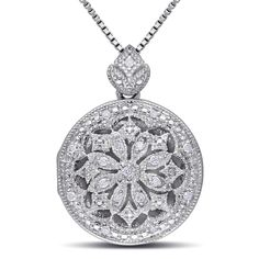 This exquisite necklace from the Miadora Collection features 18 round-cut diamonds set in sterling silver. This classic pendant is hung on a silver box chain and is secured with a lobster clasp.