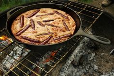 Toad in the Hole Campfire Breakfast -- a  one-pot sausage-and-pancake meal