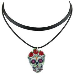 Black Faux Leather Crucifix Skull Flower Choker Necklace ($3.62) ❤ liked on Polyvore featuring jewelry, necklaces, skull cross necklace, skull jewellery, cross choker necklace, flower necklace and flower jewellery