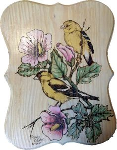 Woodburned and Painted Goldfinch
