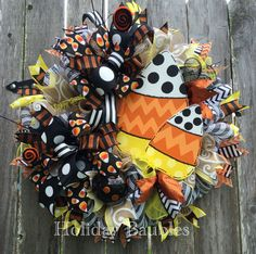 candy corn witch swag by holiday baubles trendy tree halloween wreaths by custom designers pinterest candy corn witches and wreaths - Halloween Candy Wreath