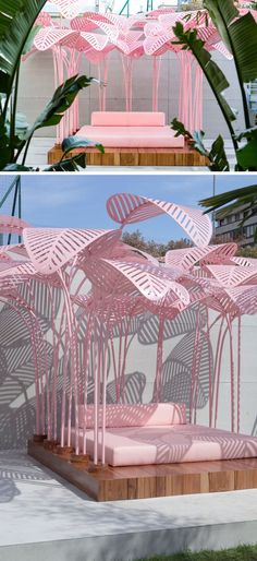 This Outdoor Sun Lounger Is Shaded By A Forest Of Pink Palm Leave - Zeutch