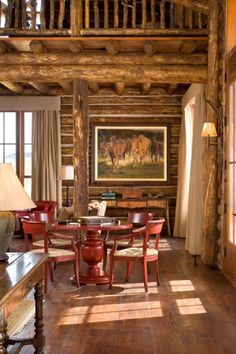 Very cozy and colorful seating area in the hand scraped logs in this home