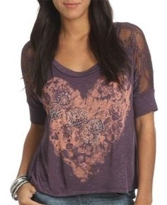 Lace Heart Dolman Tee - Teen Clothing by Wet Seal