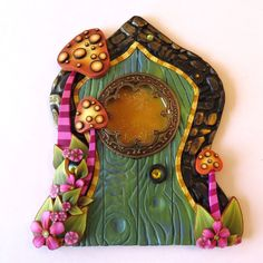 Green Fairy Door Pixie Portal  Miniature Toadstool by Claybykim