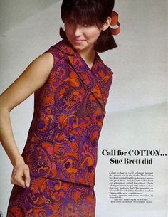 Call for Cotton ~ Seventeen, August 1966 1960s Fashion, Vintage Fashion, 1960s Outfits, Purple Coat, Vintage Glamour, Fashion Labels, Fashion History, Fashion Beauty, Style Inspiration