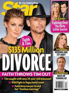 Faith Hill Throws Tim McGraw Out For Cheating, Divorce Looms