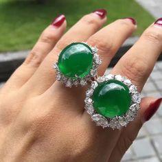 Green jade & diamond rings