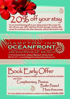 Special event invitation (back view) for the #Hampton Inn Jacksonville Beach Oceanfront in Jacksonville Beach, Florida designed by #ATH Marketing. www.athmarketing.com