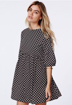 Agatha Oversized Smock Dress Daisy Print - Dresses - Missguided
