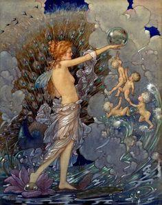'Ocean Fairy', illustration by Harold Gaze Art And Illustration, Watercolor Illustration, Book Illustrations, Fairy Land, Fairy Tales, Water Fairy, Vintage Fairies, Mystique, Art Moderne