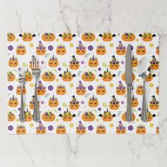 Halloween Unicorn Pumpkins Orange and White Paper Placemat