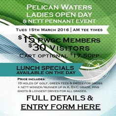 Lady golfers we'd love to see you. Form here>http://ow.ly/Y3xt4 @pelicanwatersgolf club. Entry closes Mon Mar 7