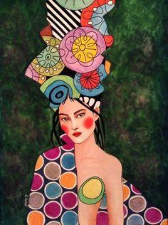 Por amor al arte: Hülya Özdemir Art And Illustration, Watercolor Illustration, Watercolor Art, Figurative Kunst, Portrait Art, Female Art, Art Images, Collage Art, Pop Art
